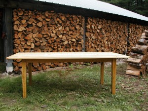 Wide pine harvest table